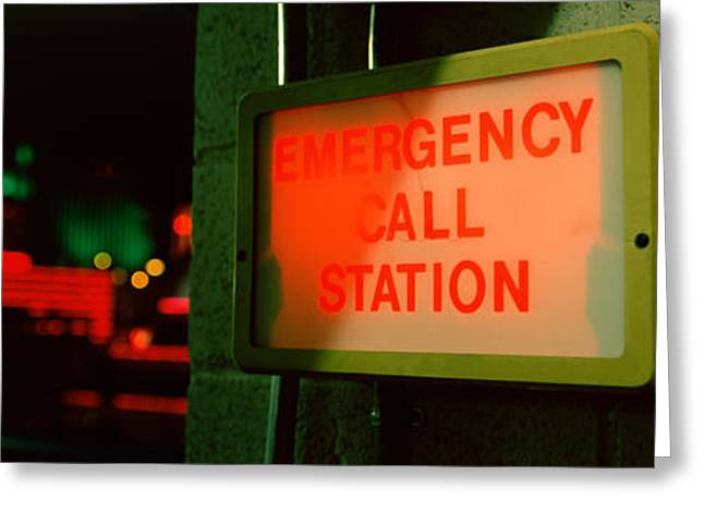 Emergency Telephone Booth In A City Greeting Card by Panoramic Images