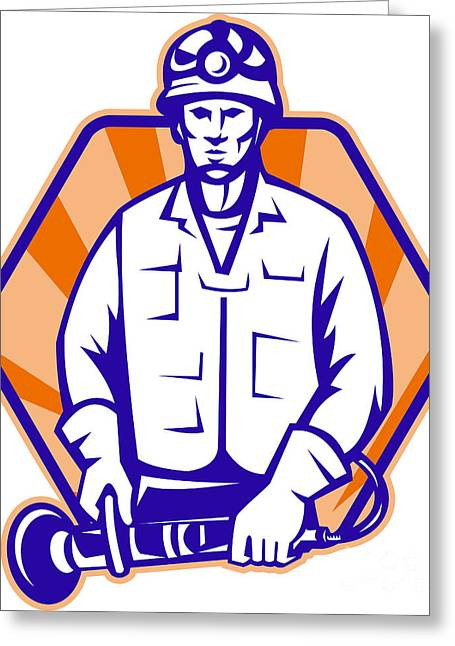 Emergency Worker With Angle Grinder Tool Retro Greeting Card by Aloysius Patrimonio