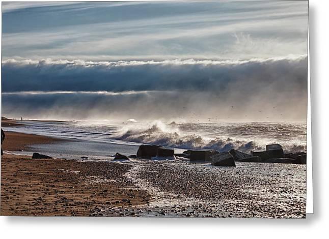 Emerging Storm At Bovbjerg Beach In Denmark Greeting Card