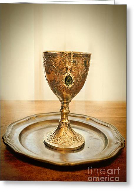 Emerlad Necklace In Chalice Greeting Card by Jill Battaglia