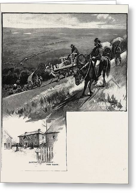 Emigrant Train, Assineboine Valley, Canada Greeting Card by Canadian School