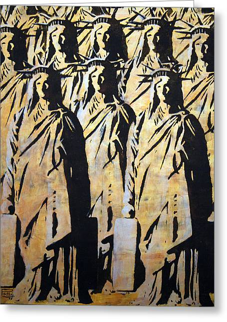 Emigration Liberty Greeting Card by Piotr Betlej