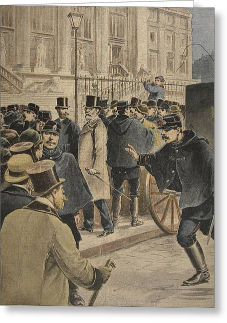 Emile Zola Outside The Courthouse Greeting Card by Henri Meyer