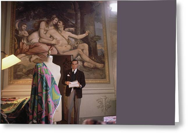 Emilio Pucci By A Fresco Greeting Card by Horst P. Horst