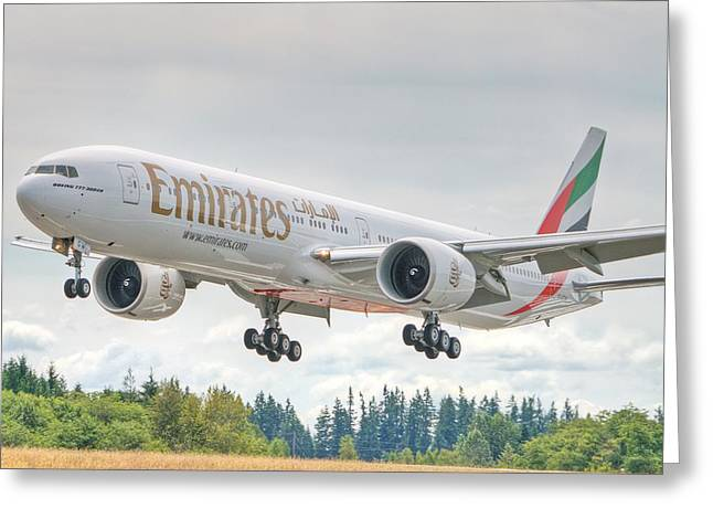 Emirates 777 Greeting Card by Jeff Cook