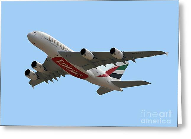 Emirates Airlines Airbus A380-861 Greeting Card by Graham Taylor