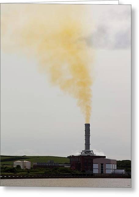 Emissions From A Gas Fired Power Plant Greeting Card by Ashley Cooper
