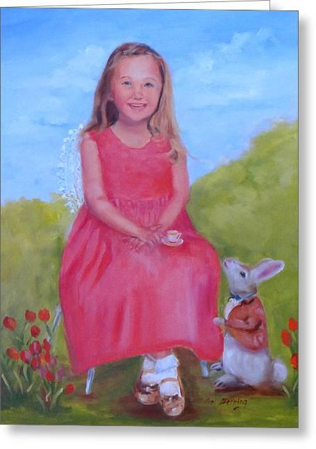 Emma In Wonderland Greeting Card by Carol Berning