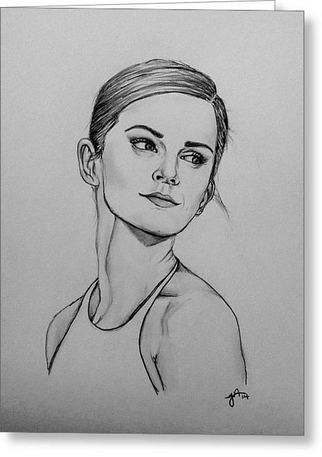 Emma Watson Greeting Card by Jeszy Arnold