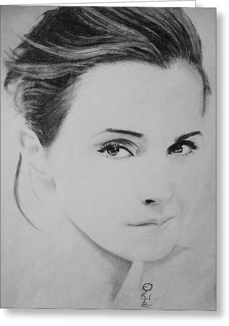 Emma Watson Minimalist Greeting Card by Jaedin Always