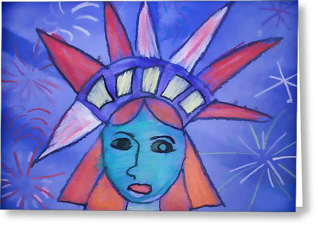 Emma's Lady Liberty Greeting Card by Alice Gipson