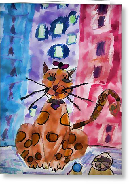 Emma's Spotted Kitty Greeting Card by Alice Gipson