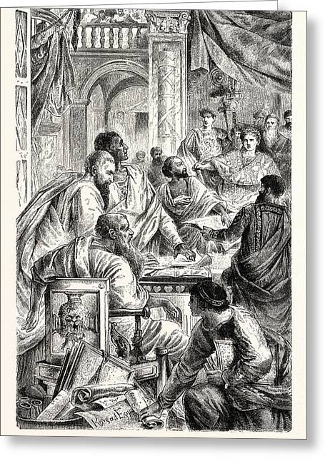 Emperor And Learned Men Of The Eastern Or Byzantine Empire Greeting Card by English School