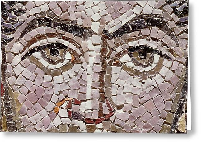 Emperor Justinian I 483-565 C.547 Ad Mosaic Detail Of 140283 Greeting Card by Byzantine School