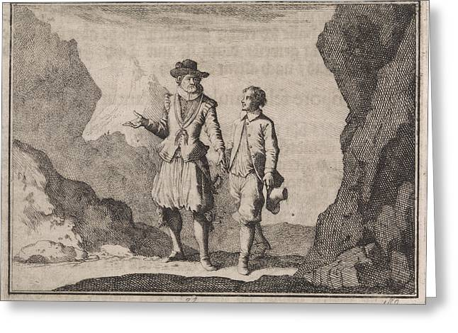 Emperor Maximilian And His Guardian Angel In A Rocky Greeting Card by Caspar Luyken And Christoph Weigel