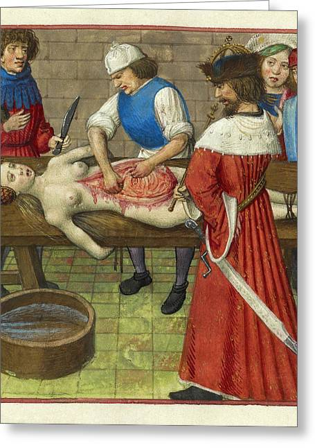 Emperor Nero At His Mother's Dissection Greeting Card by British Library