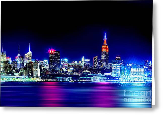 Empire State At Night Greeting Card by Az Jackson