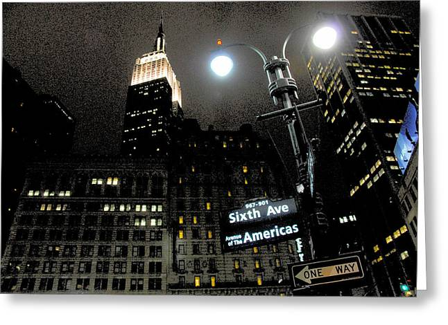 Empire State Building At Night Greeting Card by Ivo Kerssemakers