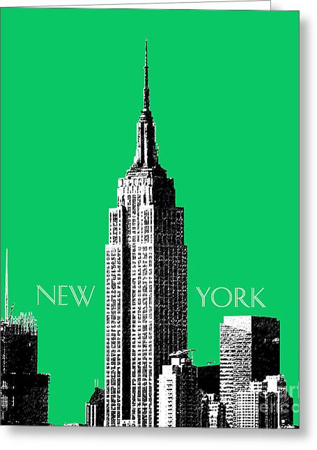 Empire State Building - Green Greeting Card by DB Artist