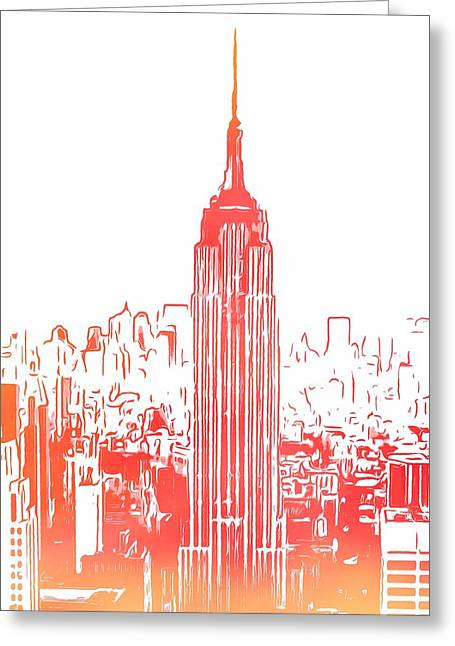 Empire State Building And Manhattan Skyline Sketch Greeting Card
