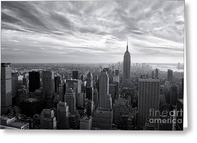 Empire State Building And Midtown Manhattan Black And White Greeting Card by Sabine Jacobs