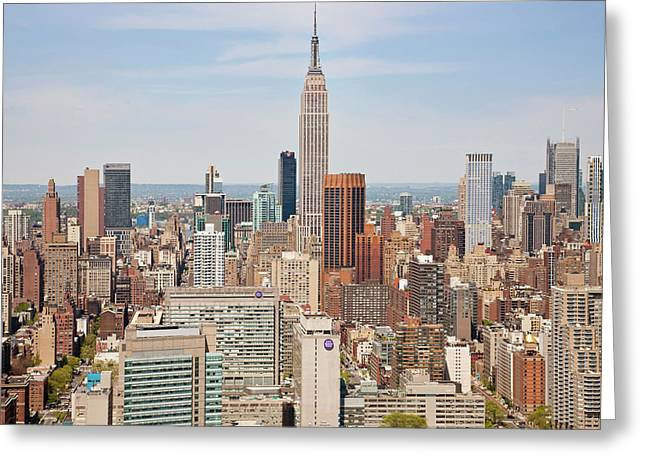 Empire State Building And Skyline Greeting Card by Peter Adams