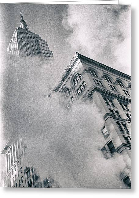 Empire State Building And Steam Greeting Card