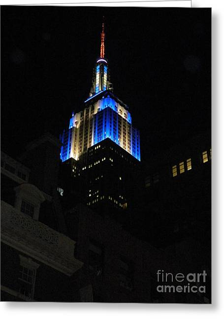 Empire State Building At Night Greeting Card