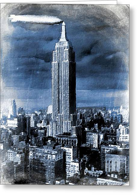 Empire State Building Blimp Docking Blue Greeting Card by Tony Rubino