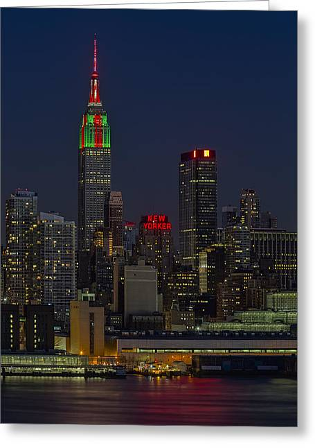 Empire State Building In Christmas Lights Greeting Card by Susan Candelario