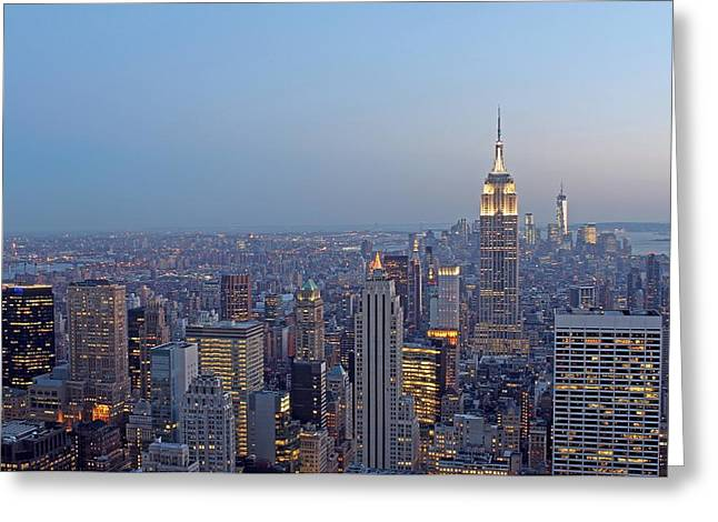 Empire State Building In Midtown Manhattan Greeting Card by Juergen Roth