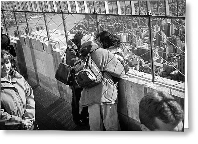 Greeting Card featuring the photograph Empire State Building Kiss by Dave Beckerman