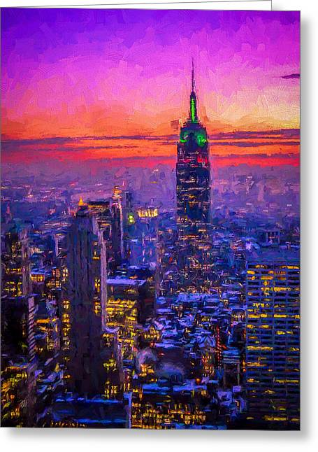 Empire State Building Greeting Card by Michael Petrizzo