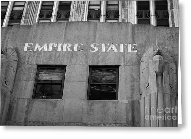 Empire State Building Nameplate Art Deco Gold Writing New York Greeting Card
