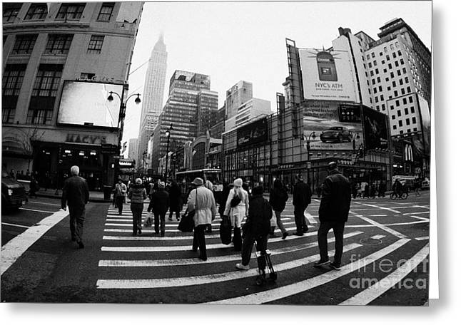 Empire State Building Shrouded In Mist As Pedestrians Crossing Crosswalk  New York City Usa Greeting Card by Joe Fox