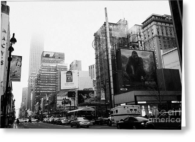 empire state building shrouded in mist from west 34th Street and 7th Avenue King Kong movie poster Greeting Card