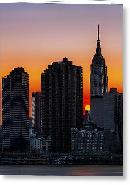 Empire State Building Sunset Greeting Card by Susan Candelario