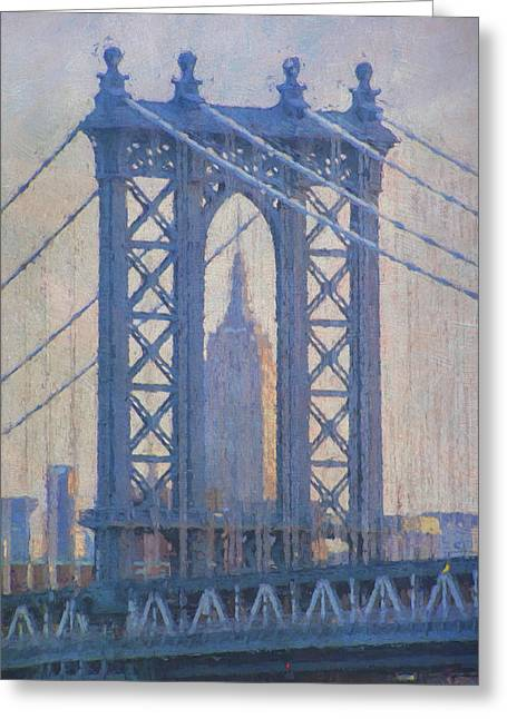 Empire State Building Through The Manhattan Bridge Greeting Card