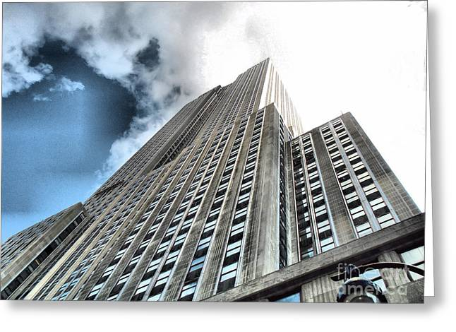 Empire State Building - Vertigo In Reverse Greeting Card by Luther Fine Art
