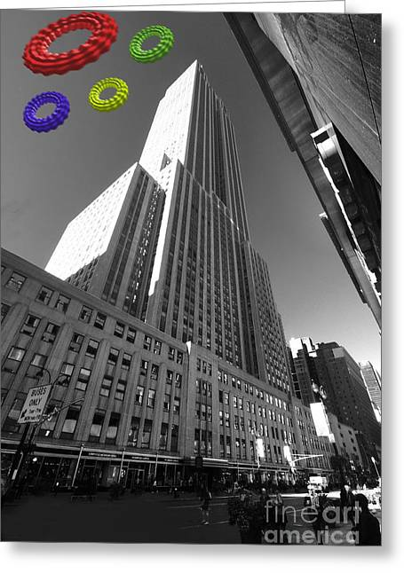 Empire State Of The Rings  Greeting Card by Rob Hawkins