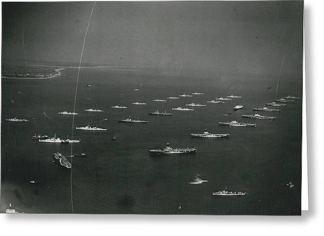 Empire�s Warships Line Up For The Coronation Review At Greeting Card by Retro Images Archive