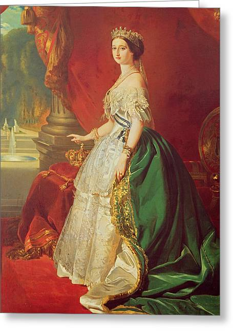 Empress Eugenie 1826-1920 After A Portrait By Francois Xavier Winterhalter 1806-73 Oil On Canvas Greeting Card by Francois Gabriel Guillaume Lepaulle