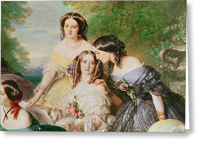 Empress Eugenie 1826-1920 And Her Ladies In Waiting, Detail Of Baronne De Malaret, Nee Nathalie De Greeting Card