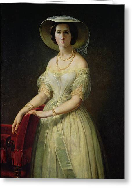 Empress Eugenie 1826-1920 C.1853 Oil On Canvas Greeting Card by Claude-Marie Dubufe