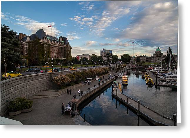 Empress Hotel And Victoria Harbor Greeting Card by Mike Reid