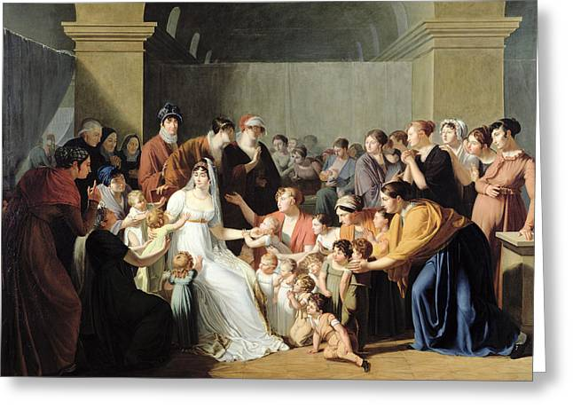 Empress Josephine 1763-1814 Among The Children, 1806 Oil On Canvas Greeting Card by Charles Nicolas Raphael Lafond