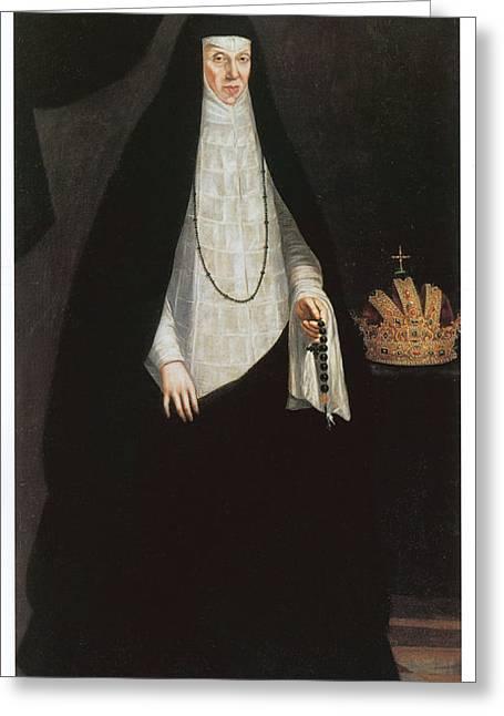 Empress Maria Of Austria Greeting Card by Juan Pantoia De La Cruz