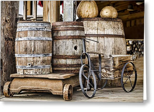Emptied Barrels Greeting Card by Heather Applegate