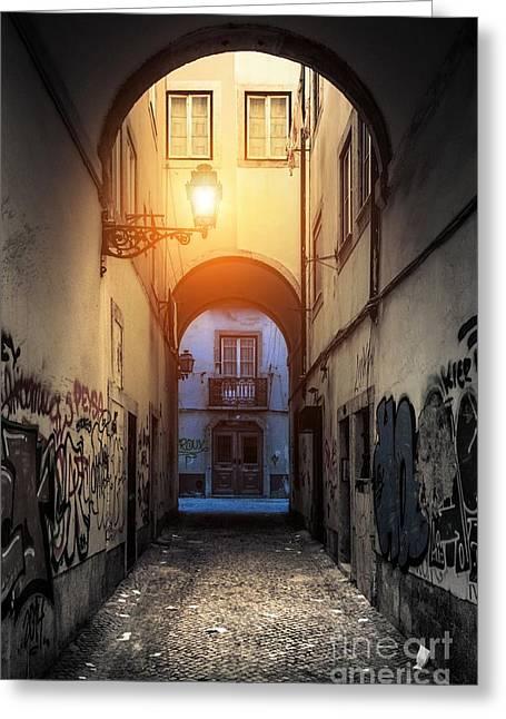 Empty Alley Greeting Card by Carlos Caetano