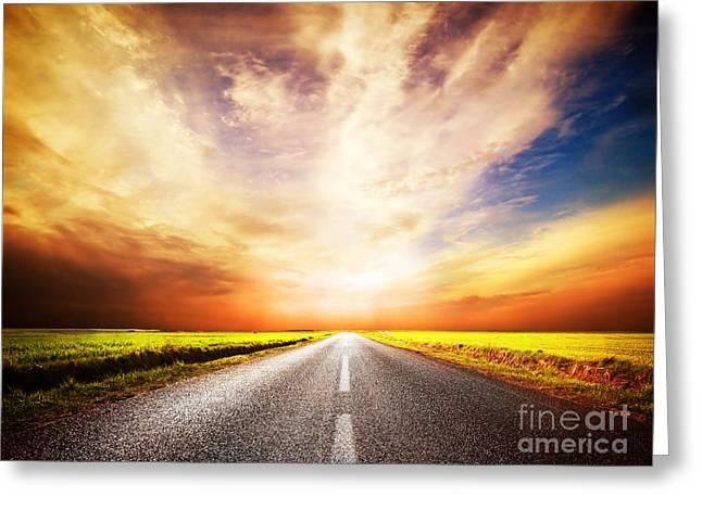 Empty Asphalt Road. Sunset Sky Greeting Card by Michal Bednarek